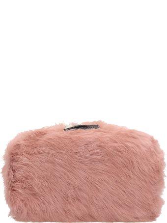 Lola Cruz Rigid Clutch Bag With Pink Fur