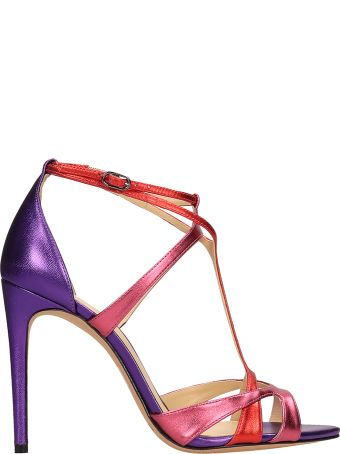 Alexandre Birman Multicolor Metal Leather Sandals