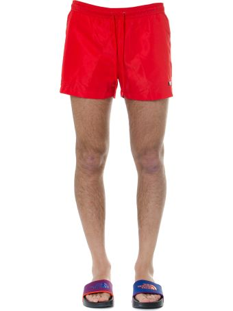 Calvin Klein Red Swim Short With Logo Print
