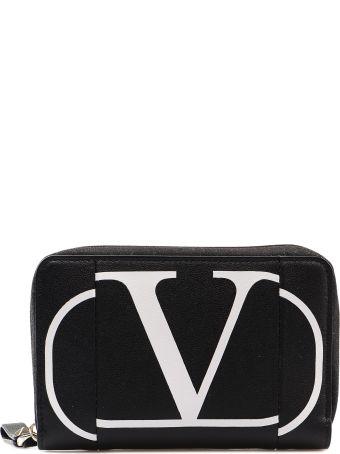 Valentino Garavani Logo Print Zip Around Wallet