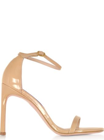 Stuart Weitzman Nudistsong Adobe Patent Leather High Heel Sandals