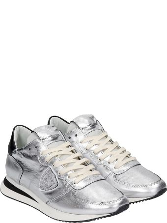 Philippe Model Trpx L Sneakers In Silver Leather
