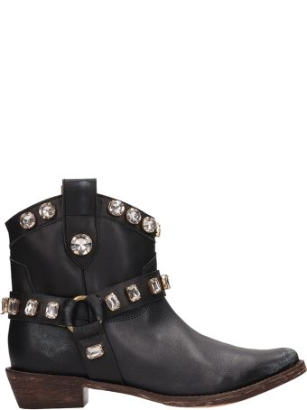 Coral Blue Tex Black Leather Boots