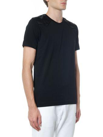 Diesel Black Gold Black Cotton T Shirt With Shoulders Detail