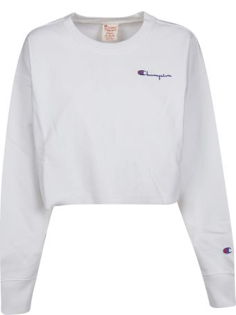 Champion Logo Embroidered Cropped Sweatshirt