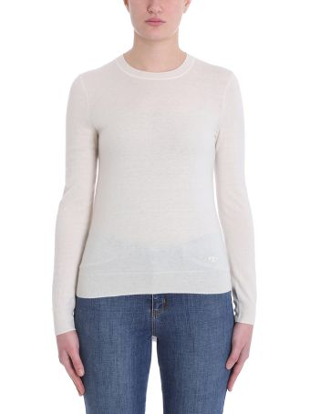 Tory Burch White Wool Sweater