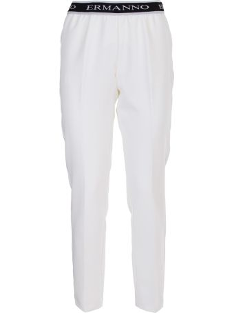 Ermanno Ermanno Scervino Errmanno Scervino White and black logo banded trousers