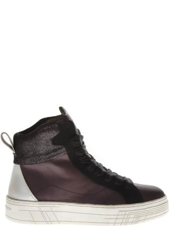 Crime london Burgundy Leather High-top Sneakers