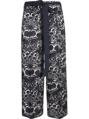 Max Mara The Cube Long Length Belted Waist Printed Trousers