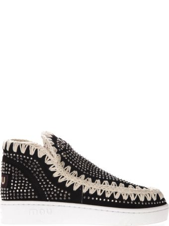 Mou Black Suede Hotfix Studs Sneakers