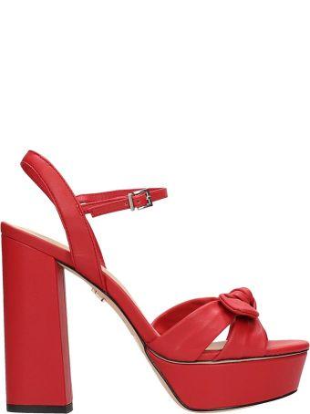 Lola Cruz Red Leather Sandals
