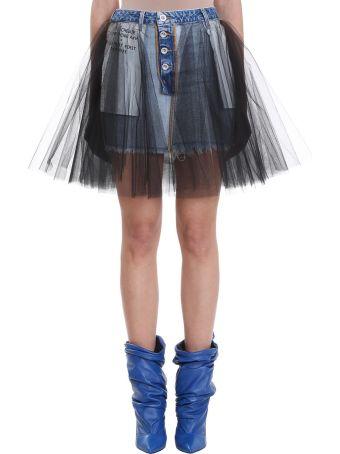 Ben Taverniti Unravel Project Blue Stone Denim Mini Skirt