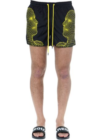 Frankie Morello Black And Yellow Jonathan Swim Shorts