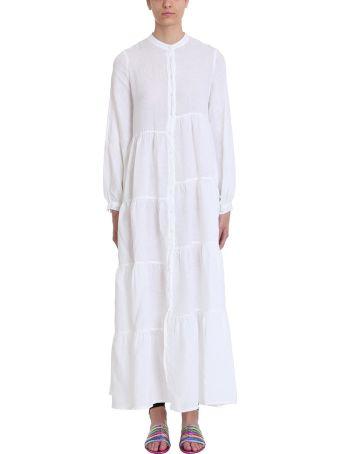 120% Lino White Linen And Cotton Long Dress