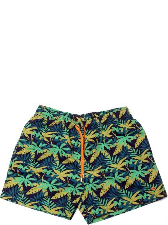 Gallo Blue And Green Beach Boxer With Jungle Print