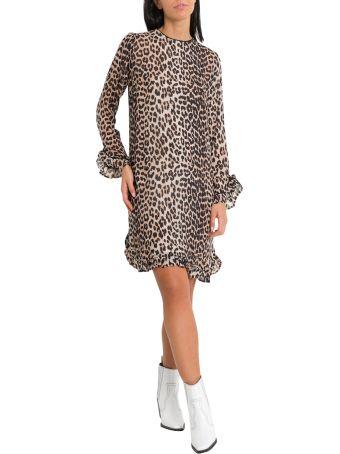 Ganni Mullin Leopard Print Midi Dress