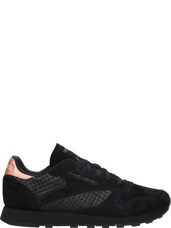 Reebok Black Leather And Suede Cl Lthr Sneakers