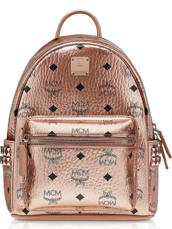 MCM Champagne Gold Mini Stark Backpack