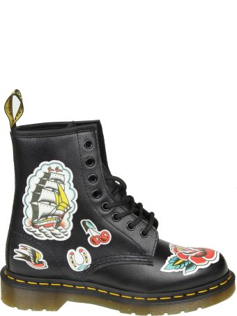"Dr. Martens Dr.martens ""chris"" Boots In Black Leather With Prints"