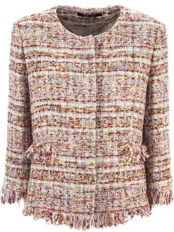 Tagliatore Pink Cotton Blend Milly Tweed Jacket