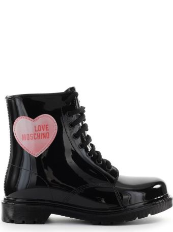 Love Moschino Black Rubber Combat Boot