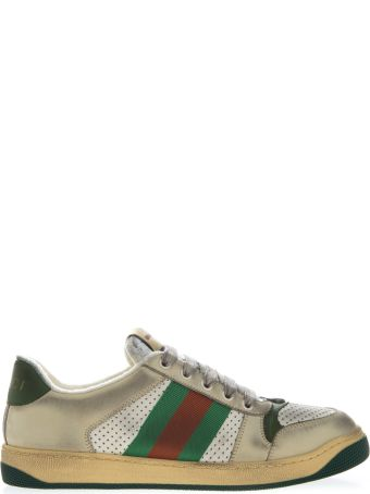 Gucci Multicolor Sneakers Screener In Leather With Web Tape