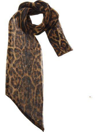 Saint Laurent Long Lavallière In Leopard-print Silk Chiffon