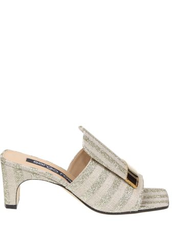 Sergio Rossi Sabot In Laminate Mules Fabric Platinum Color