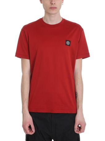 Stone Island Red Logo Cotton T-shirt