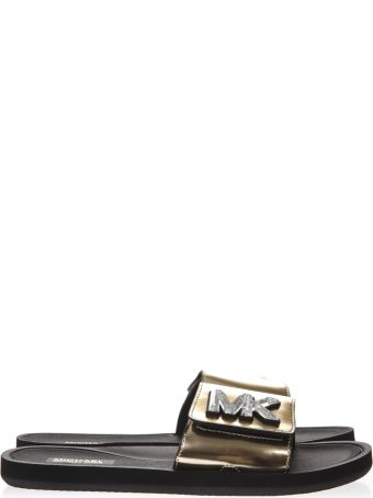 MICHAEL Michael Kors Metallic Gold Leather Slides With Mk Logo