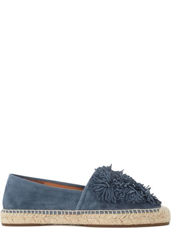Chie Mihara Party Avio Blue Suede Espadrillas With Pom Pom