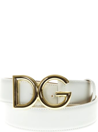 Dolce & Gabbana Dg White Leather Belt