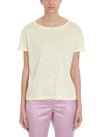 Acne Studios Cotton And Linen Yellow Eldora T-shirt In
