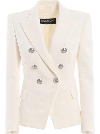 Balmain Cotton Natte Double-breasted White Blazer