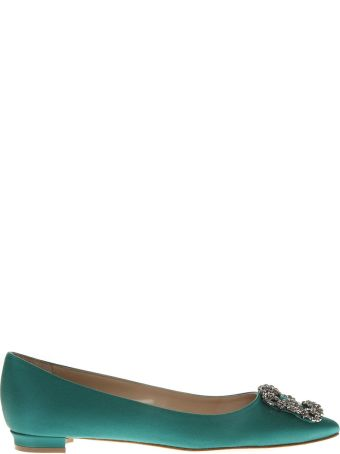 Manolo Blahnik Green Satin Jewel Buckled Flats