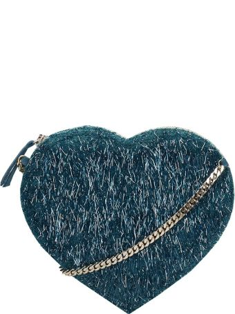 Anniel Heart Green Furry Fabric Bag