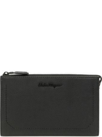 Salvatore Ferragamo Firenze Grain Leather Clutch