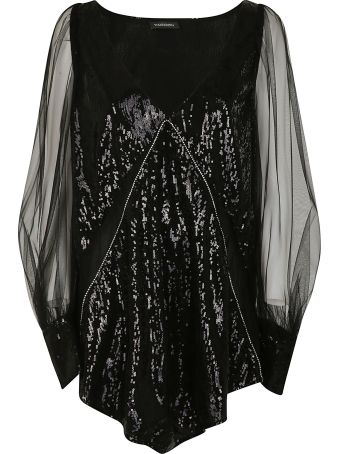 WANDERING Deep V-neck Sequined Mini Dress