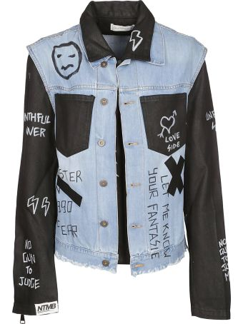 Faith Connexion Contrast Panel Doodle Denim Jacket