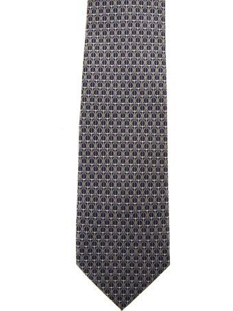 Salvatore Ferragamo Black Silk Gancini Printed Tie