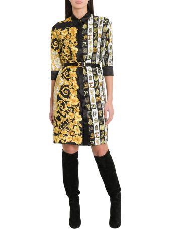 Versace Mixed Print Satin Shirt Dress