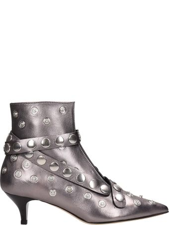 Alchimia Silver Laminated Leather Ankle Boots
