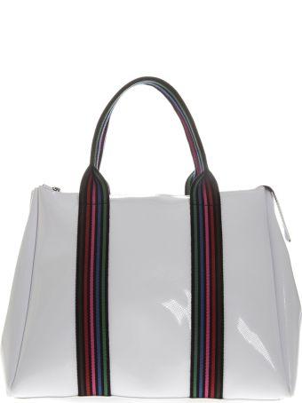 Gianni Chiarini White Vinyl Fourty Hand Bag With Shoulder Strap