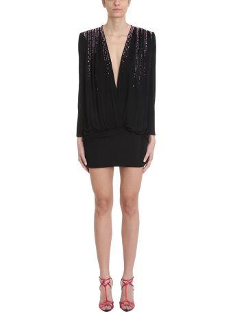 ATTICO V-neck Crystal Embellished Mini Dress