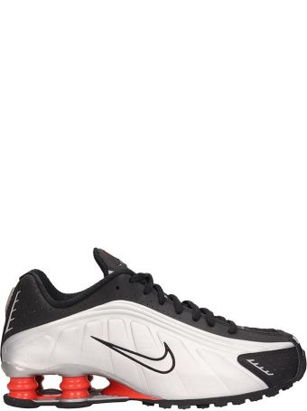 Nike Black And Silver Leather Shox R4 Snaekers