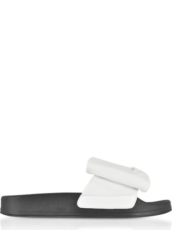 Robert Clergerie Wendy White Leather Slide Sandals W/black Sole