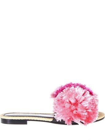 Avec Moderation Bora Bora Pink Raphia Pompom Sandals