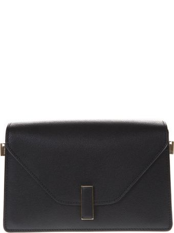 Valextra Black Twist Lock Shoulder Bag In Leather
