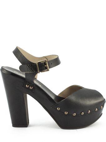 Duccio del Duca Black Leather Eos Sandals