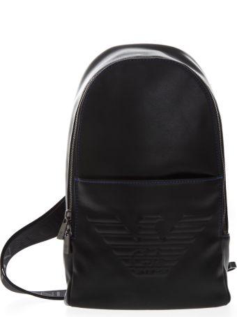 Emporio Armani Black One Shoulder Eagle Backpack